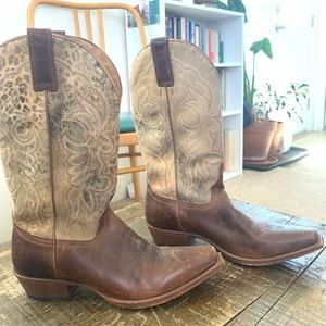 Shyanne Square Toe Leather Cowgirl Boots